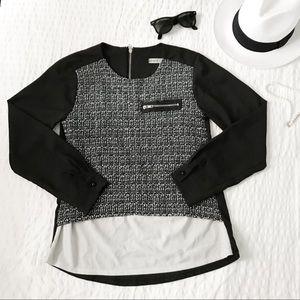 Black and grey tweed blouse